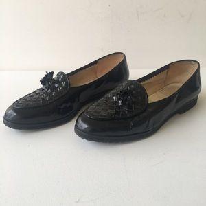 Bottega Veneta Black Patent Leather Flats